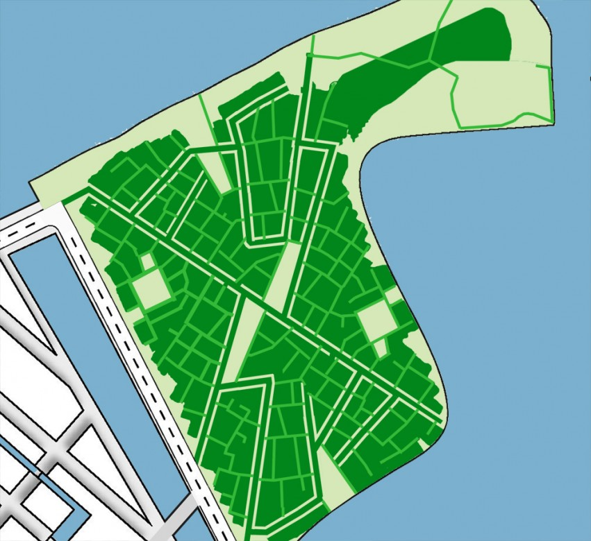 Groenplan voor WikiHouse Village, minimaal verharden, maximaal begroeid terrein