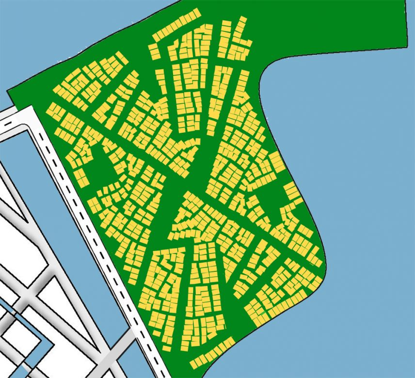 Kavels in WikiHouse Village, grote dichtheid, lage grondprijs